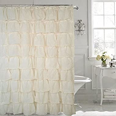 spring Home FLAMENCO Gypsy Ruffled SHEER Shower Curtain (IVORY)