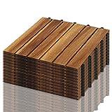 VINGO 55 Stück Holzfliesen aus Akazienholz Balkonfliesen Terrassenfliesen, Bodenbelag mit Drainage, Fliese Leicht verlegbar(6 Latten | 5 m²)