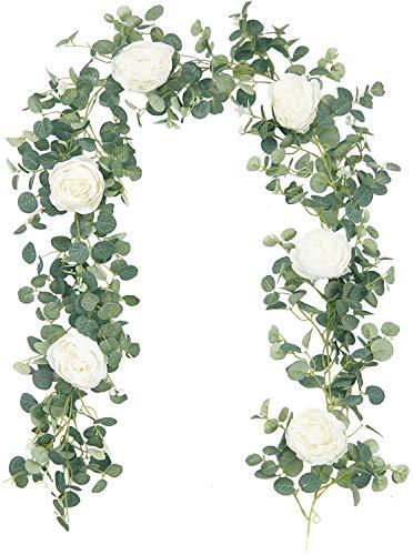 SHACOS Guirlande de Fleurs Pivoine Artificielle Blanche Guirlande Vigne Fleur Artificielle avec Pivoine Soie et Feuilles Eucalyptus Fleurs Suspendue pour la Décoration Table Mur Miroir Jardin Mariage