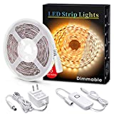 LED Strips Light, MYPLUS Dimmable Under Cabinet Lighting 1050LM, High Brightness Warm White 3000K, 16.4ft Tape Lights with UL Listed Safety Power Supply for Room,Kitchen and décor