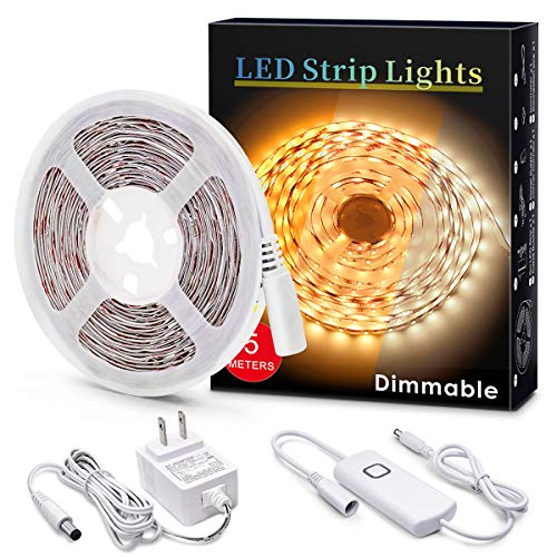MYPLUS Under Cabinet Led Lighting, 16.4ft LED Strip Lights Kit with Dimmer Control for Kitchen, Cabinet, Shelf, Counter, Bedroom and Décor, Warm White 3000K, 1050LM