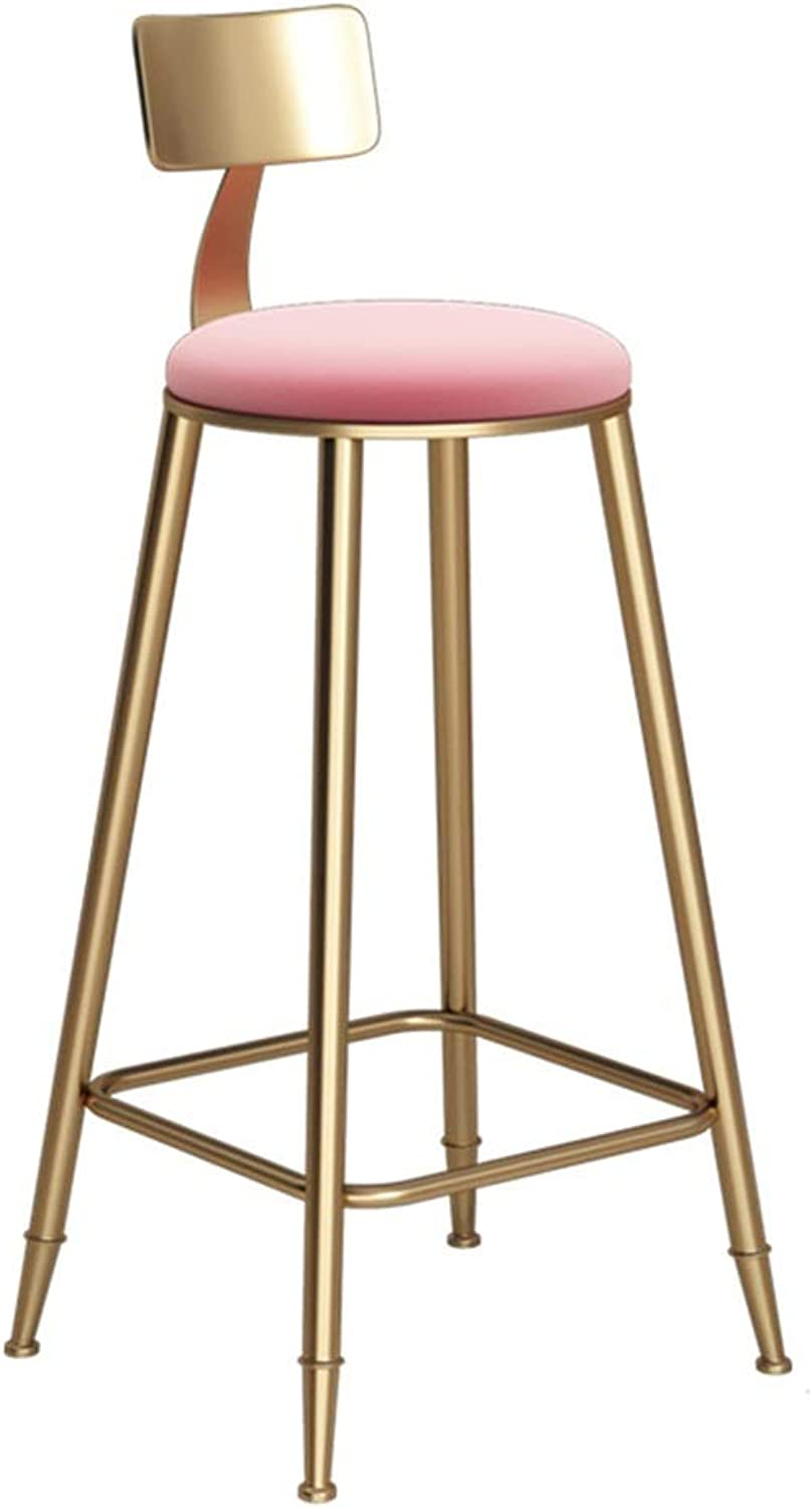 Round golden Barstool Steel Breakfast Dining Stool for Kitchen Bar Counter Home Commercial Chair LOFT High Stool with Backrest and Pink Velvet Cushion (Size   Height 68cm)