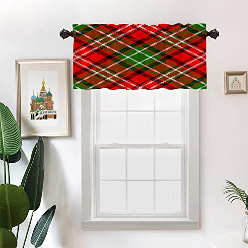 Batmerry Christmas Irish Rustic Kitchen Valances Half Window Curtain, Abstract Madras Plaid Pattern Britain Celtic Check Checkered Kitchen Valances for Bedroom Valance for Decor Reducing The Light