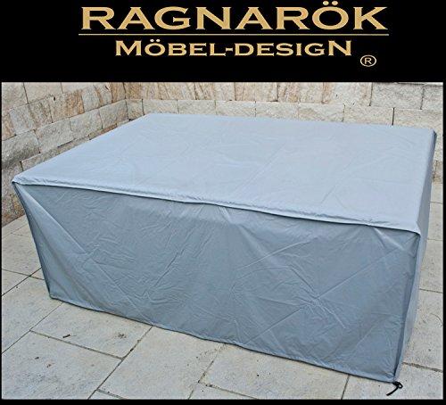 Ragnarök-Möbeldesign Schutzabdeckung Gartenmöbel Schutzhülle für Modell HEIMDALL 6+4 Husse schwere LKW Plane Maßgefertigt Wetterschutz Abdeckung Abdeckhaube