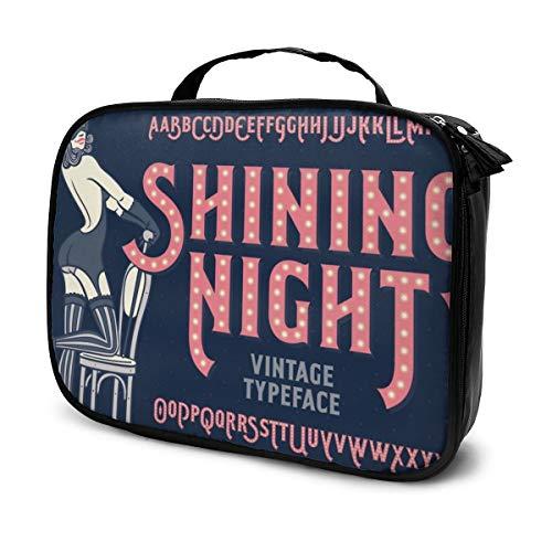 Bolsas de cosméticos para viajes de mujeres, fuente de estilo cabaret vintage con hermosa bailarina con estuche de lápices