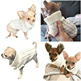 Pretty Pampered Pets UK Chihuahua Clothes Puppy Dog Coat Knit Jumper Cosy Teacup Smaller Breeds XXXS XXS XS (XXXS, Ivory Cream White)