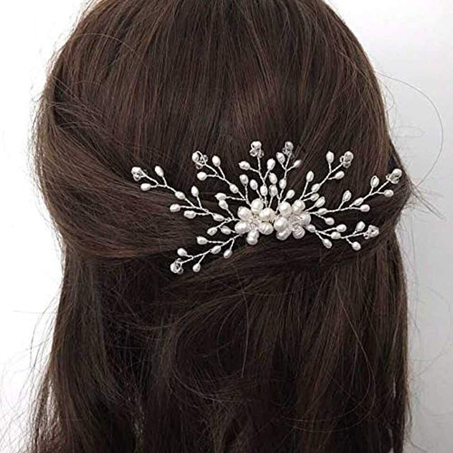 トチの実の木筋肉の相続人Jovono Bride Wedding Hair Comb Bridal Headpieces Beaded Hair Accessories with Crystal for Women and Girls (Silver) [並行輸入品]