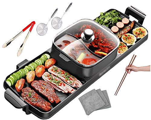 Soup N Grill Hotpot Grill Combo, Indoor Smokeless Korean BBQ, Shabu Shabu Electric Hot Pot with Divider, Portable with Free Strainer Scoops, Extra Long Chopsticks, Tongs, Cloths