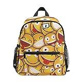 Divertente Smile Emoticons Zaino Giallo per Ragazze Ragazzi Ragazzi Scuola Viaggio Bambini Mini Bookbag