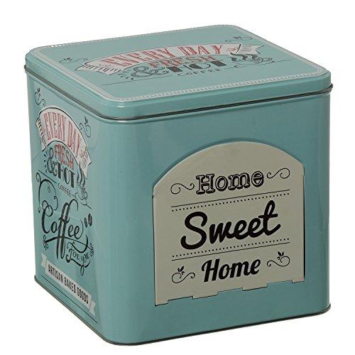 DONGABOWEB vierkante metalen doos met deksel en logo Home Sweet