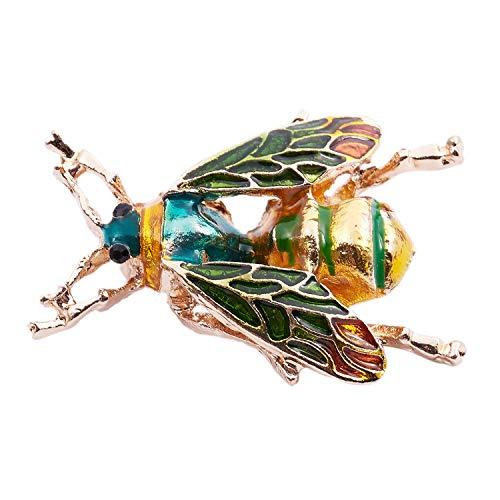 TOOGOO Broche de Cristal de Moda manosear Abeja Pin Traje de Disfraces Regalo de la joyeria de Fiesta Abeja Verde