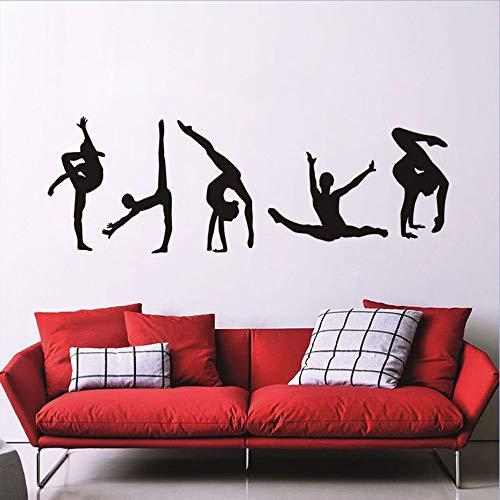 Gimnasia artística Chica Pose Acción Retrato moderno Calcomanía Gimnasio Sala de estar Deportes dormitorio Estudio de baile Decoración para el hogar Vinilo Etiqueta de la pared Arte mural cartel