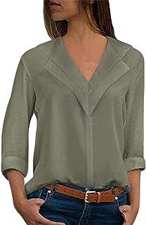 Veepola - Blusa de Gasa para Mujer, Estilo Informal, Manga Larga, Cuello en V, 8 tamaños