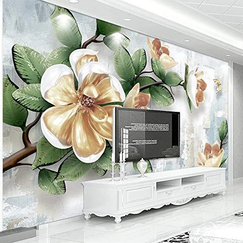 DZBHSCL fotobehang, muur, mooie groene plant, bloemen, magnolia, stereo, HD, groot formaat, printpapier, fotopapier, voor posters, ontvangst, woonkamer, slaapkamer, wanddecoratie 100in×144in 250cm(H)×360cm(W)