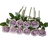 DuHouse 10 rosas artificiales de seda con flores de imitación de rosas largas para arreglo, boda, centro de mesa, fiesta, hogar, cocina, decoración (morado otoño)