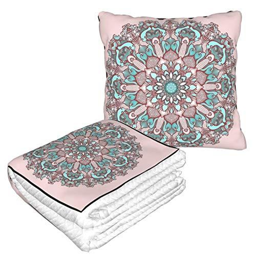 Manta de almohada de terciopelo suave 2 en 1 con bolsa suave mandala en fondo rosa funda de almohada para el hogar, avión, coche, viajes, películas