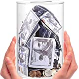 Piggy Bank for Adults Break to Open,Clear Piggy Bank Savings Jar Cash and Coin,Coin Bank Money Bank,Unopenable Acrylic Saving Money Jar for Coin Cash Bills (Medium)-Adults Savings Money Box Coin Jar