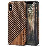 TENDLIN Funda iPhone XS/Funda iPhone X Grano de Madera con Piel y Silicona TPU Híbrido Suave Funda Compatible con iPhone XS y iPhone X (Sándalo Rojo & Cuero)