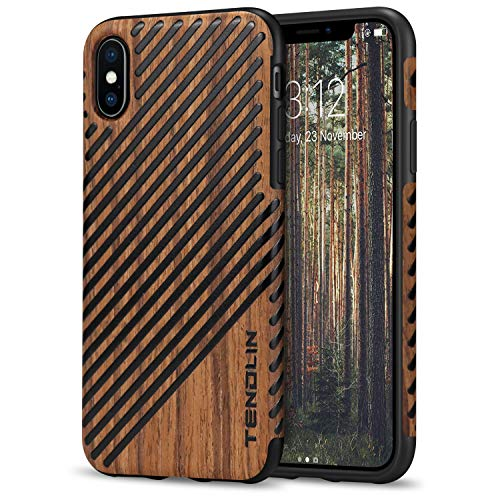 TENDLIN Compatible with iPhone Xs Case/iPhone X Case with Wood Grain Outside Soft TPU Silicone Hybrid Slim Case Compatible with iPhone X and iPhone Xs (Wood & Leather)