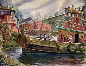 California Watercolor Fine Art Print, Tug Sailors, c. 1940, by Barse Miller, 19.75 x 26 inches
