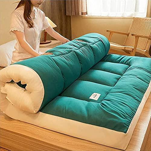 Futón De Engrosamiento del Colchón, Plegable Portátil De Roll-Up Piso De Tatami Almohadilla para Dormir para Acampar Yoga Meditación,Verde,120x200cm