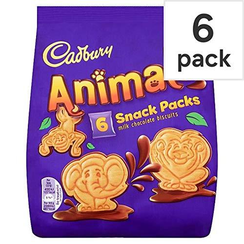 Cadbury Animal Milk Chocolate Biscuits in 6 Individually Snacks Packs ( 6 X 22g ), 132g