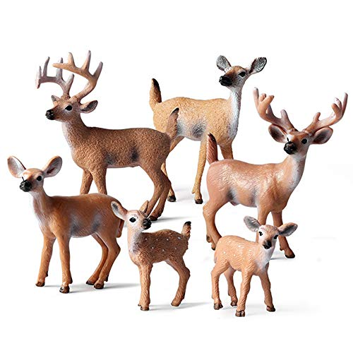 EOIVSH 6 Pack Forest Animal Deer Figures Toy, Woodland Animal Figurine Cake Topper Party Supplies Home Christmas Buck Doe Fawn Decor for Baby Shower Birthday Wedding