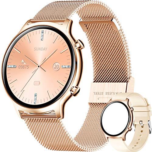 ieverda Smartwatch Mujer, Inteligente Impermeable IP68 Pulsera Actividad, Inteligente Reloj Deportivo Reloj Fitness con Pantalla Táctil Completa Pulsómetro Cronómetros per iOS Android Smartwatch