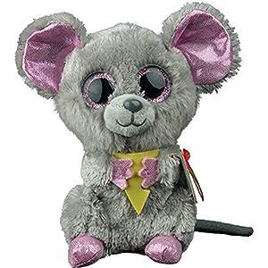 TY - Beanie Boos Squeaker, peluche ratón con queso, 15 cm (United Labels Ibérica 36192TY)