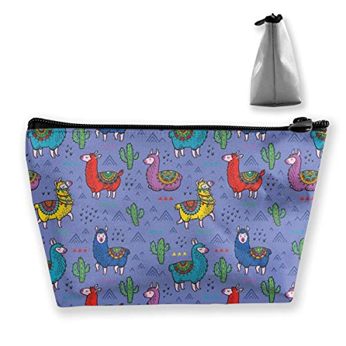Trapezoid Makeup Pouch Storage Holder Llama Alpaca Womens Travel Case Cosmetic Makeup Pouch