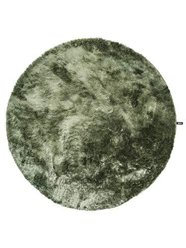 benuta Teppiche: Shaggy Langflor Hochflor Teppich Whisper Grün ø 200 cm rund - schadstofffrei - 100% Polyester - Uni - Handgetufted - Wohnzimmer
