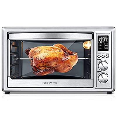 CROWNFUL Air Fryer Toaster Oven, 32 Quart Convection Roaster with Rotisserie & Dehydrator Combo, Accessories and Recipe Included, ETL Listed
