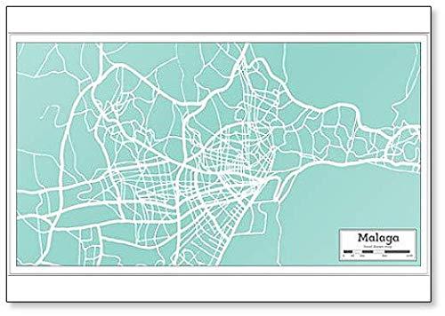 Malaga Spanje City Map In Retro Stijl - Koelkast Magneet