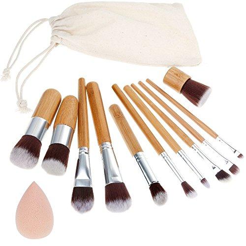 Rovtop 13 en 1, 11 Unidades Brochas y Pinceles de Maquillaje con Mango de Bambú/Juego de...