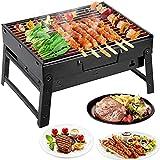 Mbuynow Grill Barbecue Carbone Griglia Barbecue per 3-5 Persone Cottura alla Brace Ottima Griglia Trasportabile per Cuocere Carne Pesce Verdure Pane Bruschettato ECC