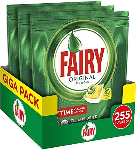 Fairy Original All in One - Pastiglie per Lavastoviglie, Limone, Maxi Formato da 85x3 Caps di Detersivo (Totale 255)