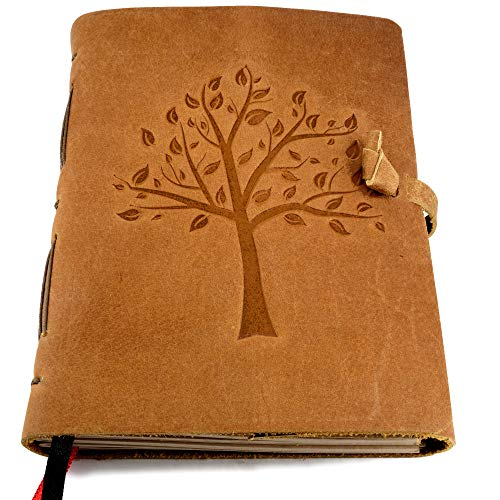 Leather Journal with Lined Pages - Tree of Life Leather Bound Writing Journal for Women and Men (5x7 in) Lined Journals for Women, Leather Bound Notebook Ruled Journal Diary, Lined Journal for Writing
