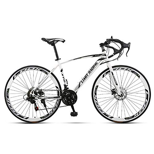 Unisexo Bicicleta de Carretera competitiva 26 Pulgadas Acero de Alto Carbono 21 Velocidad Freno de Disco Doble Estudiante Niño Cabellera Dura Ciudad del Viajero Bicicleta de Carretera,White