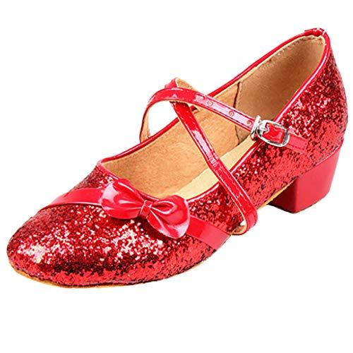 Harpily Scarpe da Ballo Tango Bambina Paillettes Scarpe da Danza Ragazza Principessa Sala da Ballo Tango Scarpe Latine Anti Scivolo Tacco Basso per Bambini 5-15 Anni (9 Anni, Rosso)
