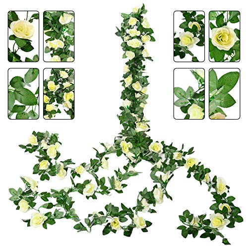 YMHPRIDE 4 Packs 30ft Fake White Rose Vine Garland Artificial Hanging Flowers Plants Real Touch White Silk Flowers for Home Wedding Party, DIY Arch Arrangement Outdoor Decoration(Total 64 White Rose)