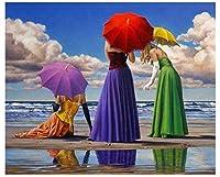 大人のための5DDiyダイヤモンドペインティングキット、海辺の女の子のダイヤモンド刺繍5DDiyダイヤモンドペインティングラインストーンのフルスクエア画像ディアマントモザイクドリル12x12インチ/ 30x30cm