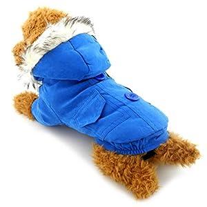 Zunea Petit Chien Vêtements pour femelle mâle épais Cotton-padded Manteau doublé en polaire à capuche Écharpe Ours Patch