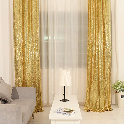 TRLYC Sequin Curtains Backdrops Glitter Gold Backdrop 2 Panels 2FTx8FT