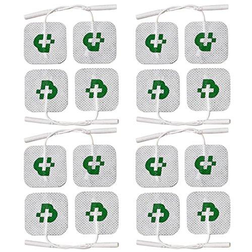 TESMED 16 electrodos de calidad superior 50 x 50 mm, universales, aptos para todas las marcas de electroestimuladores con cables de clavija de 2 mm, lavables, no necesitan gel