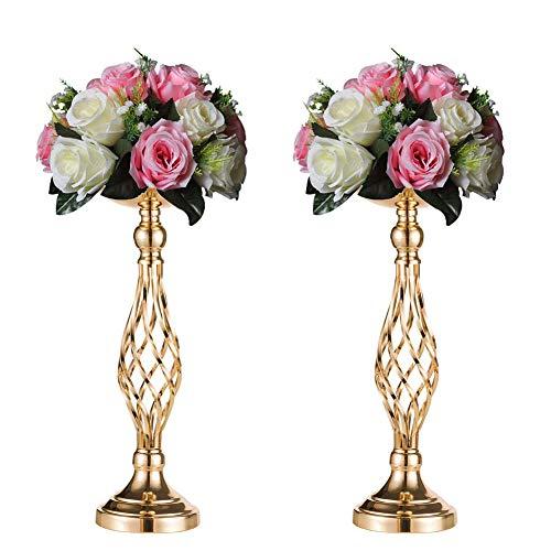 Sziqiqi Soporte Decorativo De Flores para Recepción De Bodas/Fiestas, Jarrón De Oro para Mesa, Pérgola Floral De Mesa Principal/Recepción, Candelabro Columnario De Hierro (45cm × 2)