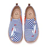 UIN Women's Slip Ons Canvas Lightweight Flats Sneakers Walking Casual Navy Art Painted Travel Shoes Blue Ferry Well (39)
