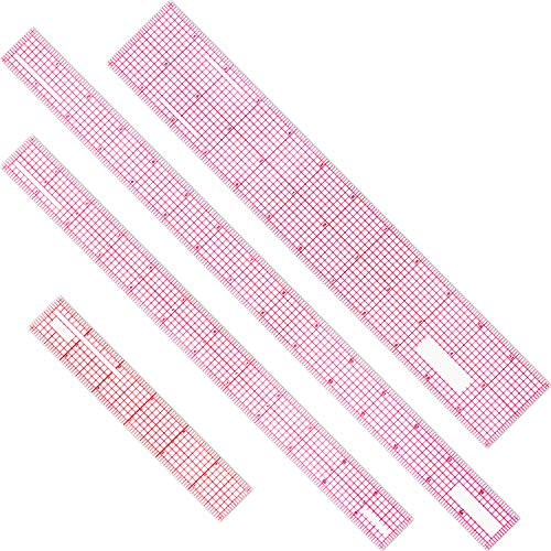 4 Pieces Beveled Transparent Ruler Clear Ruler French Inch Metric Ruler Plastic Measuring Tool Ruler Set for Clothes Design, 6 Inch, 12 Inch, 15 Inch