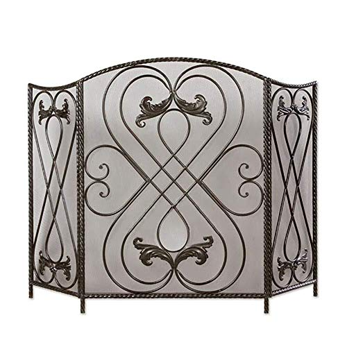 Why Choose Screen J-Fireplace 47×31in 3 Panel Wrought Iron Fireplace Decor Mesh, Outdoor Safe Spark...