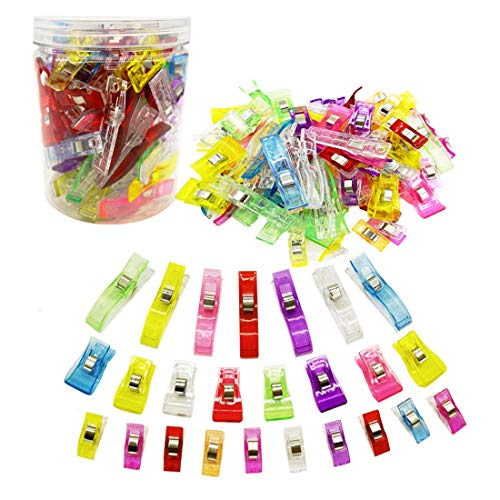 Sewing Quilting Clips Assorted Sizes 100 Pcs, 20 Large + 30 Medium + 50 Small Multipurpose Wonder Quilt Clips for Fabric Crafts with Plastic Box