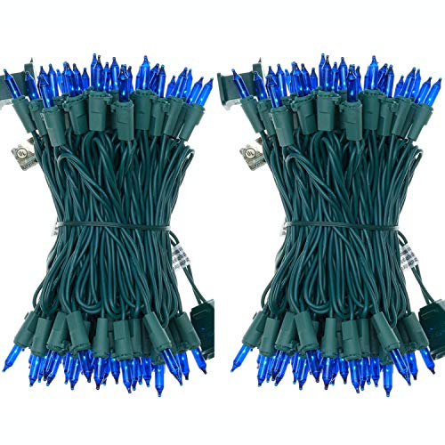 UL Certified 66 Feet 200 Count Blue Christmas String Lights, Pack of 2 Sets 33 Ft 100 Green Commercial Light Set, Connectable Home Decor Lights for Bedroom Curtain Wedding Holiday (Blue - Green Wire)